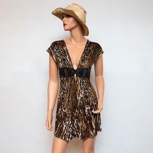 Sky Leopard Print Sexy Low-Cut Women's Short Dress